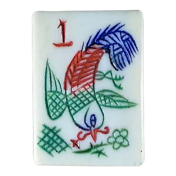 'PHOENIX' style one bamboo + other features - vintage BONE & BAMBOO mah jong game with 152 tiles for NMJL rules