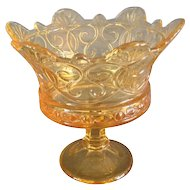 "Fostoria ""Navarre"" Pattern Gold Colored Footed Compote"