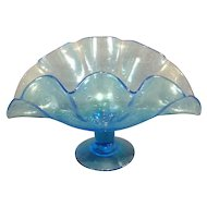 Bischoff Glass Ruffled Footed Bowl
