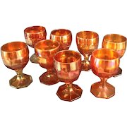 """8 Imperial """"Flute"""" Pattern Carnival Glass Goblets"""