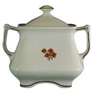 Ironstone Tea Leaf Sugar Bowl with Lid