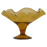 Vintage Amber Footed Bowl