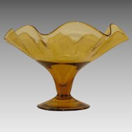 Vintage Amber Footed Bowl