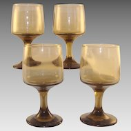 Set of 4 Smoky Amber Footed Glasses
