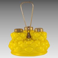 Consolidated Glass Florette/Quilted Glass Caster Set