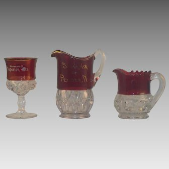 Set of 3 Ruby Stained Glass Collectibles