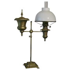 Early Bradley & Hubbard Duplex Student Lamp Converted to Electric