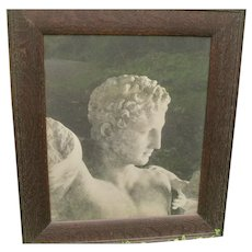 Antique Photograph of Ancient Statue in Beautiful Oak Frame