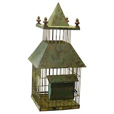 Whimsical Victorian Painted Birdcage with Finials