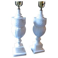 Pair of Large Carved Italian Alabaster Table Lamps with Shades, Circa 1940s