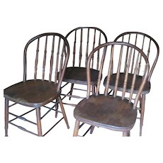 Set of Four Vintage Windsor Style School Chairs. Stamped