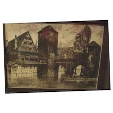 Very Old Unsigned Etching in Original Frame
