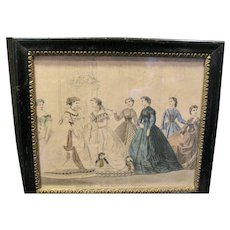 Victorian Print From French Magazine. 19th Century Beautiful Frame
