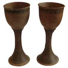 Beautiful, Signed Pair of Mid-Century Stoneware Tall Goblets