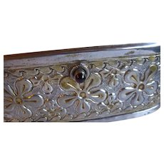 Fantastic Antique Silver on Brass Purse with Garnet Clasp