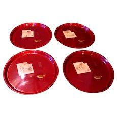 Four Vintage Hand-Painted Red Lacquered Trays From Japan
