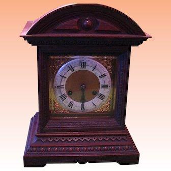 Antique Walnut Junghans Mantle Clock for Parts or Repair