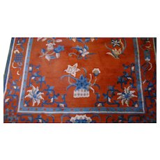 Vintage Teal and Russet Oriental Rug