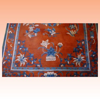Vintage Teal and Russet Oriental Rug