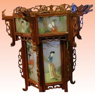 Superb Chinese Lantern with Dragons and Reverse-Painted Glass