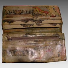 Well-Worn but Lovely Vintage Leather Wallet with Japanese Scenes