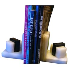 Art Deco Style Marble and Onyx Bookends
