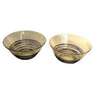 Pair Carder Steuben Clear/Black Reeded Custard Cups - c. 1930