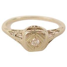 14K Edwardian Diamond Filigree Engagement Ring
