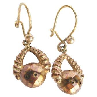 Victorian 9 Karat Gold Dangle Earrings 19th Century