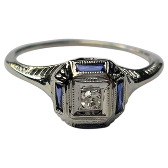18K Art Deco Old Mine Cut  Diamond and Sapphire Ring