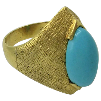 *SALE* Vintage 1960's Turquoise 18K Gold Statement Ring