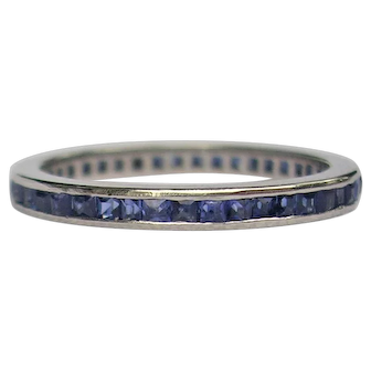 Art Deco Era Platinum Sapphire Eternity Band