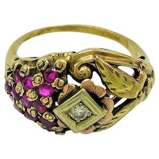 Retro 14K Ruby and Diamond Bombe Ring c. 1940