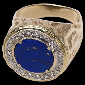 Men's 14K Lapis Lazuli and Diamond Ring c. 1970