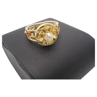 14K Mid-Century .50 Ct. Old Mine Cut Diamond Engagement Ring