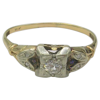*SALE* Vintage Art Deco Era 14K Diamond Engagement Ring c. 1930's