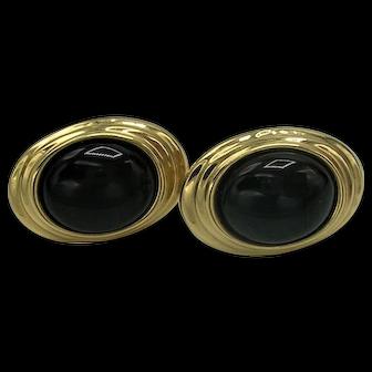 14K Gold Black Onyx Earrings, c. 1980