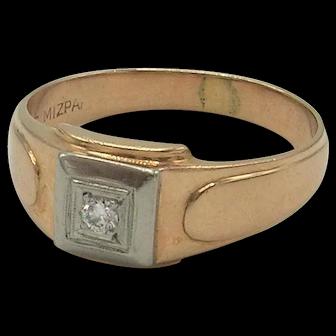 *SALE* Vintage Men's 14K Rose Gold and Diamond Ring c. 1935