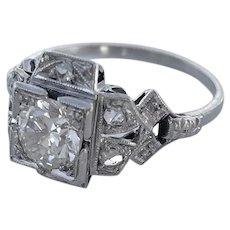 Art Deco .75 Carat Diamond Platinum Engagement Ring c.1925