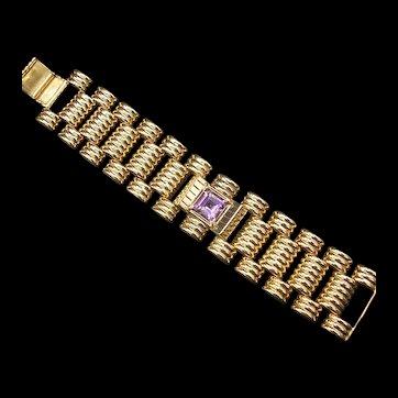 Vintage Retro 14K Gold Wide Bracelet c.1960