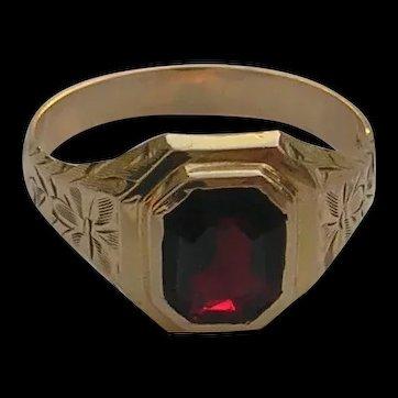 Victorian 14K Gold Men's Garnet Ring