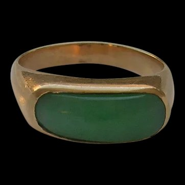Vintage Apple Green Jadeite Jade 14K Gold Saddle Ring c. 1960s