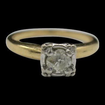 Art Deco Old Mine Cut Diamond Engagement Ring 14K-c. 1930