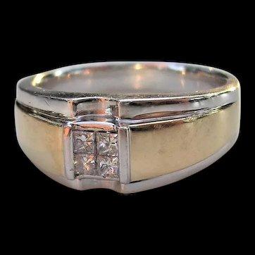 Man's Heavy Diamond Ring-14K Gold-circa 1970s