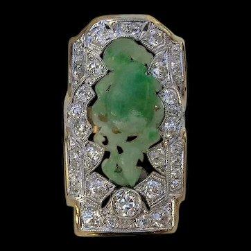 Edwardian Old Mine Cut Diamond and Carved Jade Ring-18K/Platinum