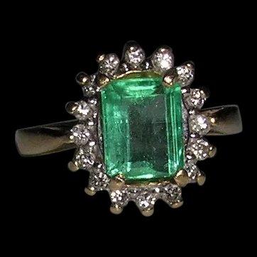 Vintage Emerald and Diamond Ballerina Ring-14K Gold-C. 1960's