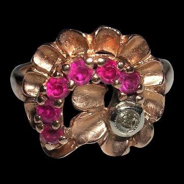 Retro Ruby and Diamond Flower Ring-14K Rose Gold, c. 1940s