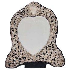 Large Heart Shaped Sterling Easel Back Dressing Mirror c. 1907