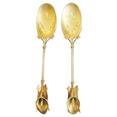 "Whiting ""Calla Lily"" Pair Figural Sterling Dessert Spoons c.1875"
