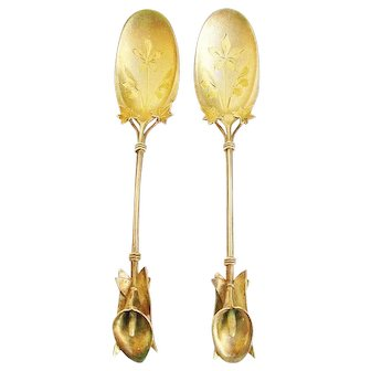 """Whiting """"Calla Lily"""" Pair Figural Sterling Dessert Spoons c.1875"""